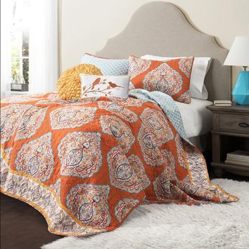 The Hannah Boho Bohemian Moroccan 5 PC Bed Quilt SET