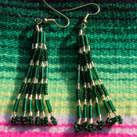 Native American Inspired - Hand Beaded Earrings - Green And Gold - Gift For Her - St Patricks Day - Tribal - Boho - Hippie