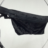 Black Crushed Velvet Fanny Pack