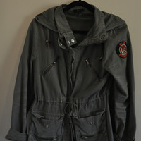 Aqua Military Jacket With Studded Elbows And Dead Kennedys Patch