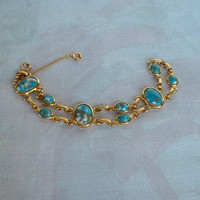 Teal Double Strand Bracelet Molded Plastic w Gold Flakes Safety Chain Jewelry