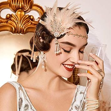 1920's Flapper Great Gatsby Inspired Leaf Medallion Pearl Feather Headband
