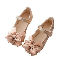 Sequins Bowknot Leather Little Girl Party Shoes