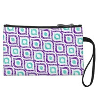 Purple, Teal, White Abstract Print Sueded Wristlet