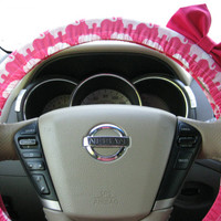 Steering Wheel Cover Bow - The Original Limited Edition Hot Pink Elephants Steering Wheel Cover with Hot Pink Bow