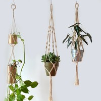 Hand-woven Lanyard Wall Decorated with Gardening Flower Pot Hanging Net Handmade Tapestry Decorative Wall Tapestry Wall Hanging