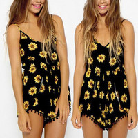 2014 Sexy Vintage Women Straps Sunflower Print Jumpsuits Hot Pants Playsuit Shorts Rompers womens jumpsuit