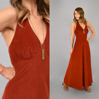 70's Rust Halter MAXI Dress