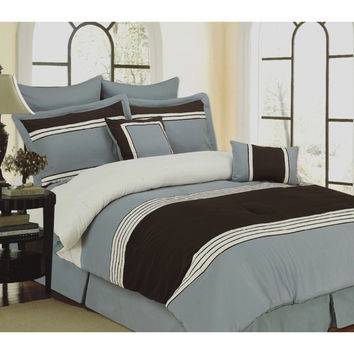 8pc Bed-in-a-Bag Wly Blue Comforter Set