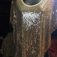 New Micheal Kors Gold Sequined Tunic Shirt Blouse