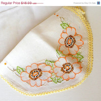 ON SALE Vintage White Linen Table Runner Hand Embroidered Floral Orange Yellow Green Black