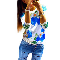 Ombre Floral Print Three Quarter Sleeve Blouse