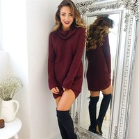 New Fasion Autumn winter Turtleneck long sleeve solid color sweater dress Women Casual Jumper Tops Women Knitted Pullovers 2019