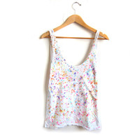 """SAMPLE SALE Speckle - The Original """"Splash Dyed"""" Hand PAINTED Oversized Scoop Neck Womens Tank Top in White Spectrum Rainbow - L"""