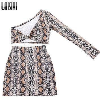 LAISIYI Fashion Two Piece Set Summer One Shoulder Crop Top High Waist Pencil Skirts Sexy Club Tracksuit Women Suits ASSU20091