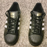Adidas Originals Superstar Black & Gold and White Accents Size 7