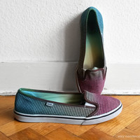 Vans lightweight slip on sneakers, multi-colour ombre upcycled gingham shoes, size eu 38,5 (US Wo's 8, UK 5.5)