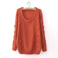 Wool Loose Long Sleeve Thicker Sweater Wine red
