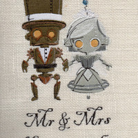 Burlap steampunk custom wedding art, wedding gift, valentines, embroidered wall art, decor, gifts for her, anniversary,