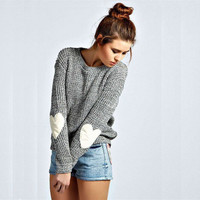 Fashion Pattern  Print Solid Color Knit Sweater