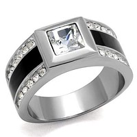 Cool Mens Rings TK2308 Stainless Steel Ring with Top Grade Crystal