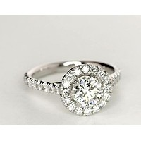 1.5CT Round Cut Solitaire Russian Lab Diamond Halo Engagement Ring