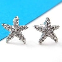 Small Starfish Star Shaped Stud Earrings in Silver with Rhinestones from Dotoly Love