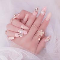 24pcs/Set High Quality Wedding Fake Nail Design 3D Flower Wedding Diamond Finger crystals Manicure Nails Tips Nail Design  Hot