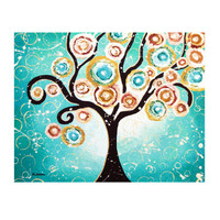 Turquoise Tree of Life Whimsical Painting, Wall Art » Craftori