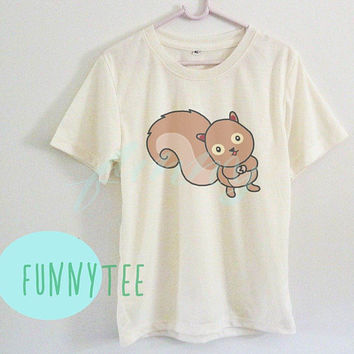 Squirrel tshirt Crew neck sweatshirt Short sleeve t shirt+off white or grey toddlers shirt