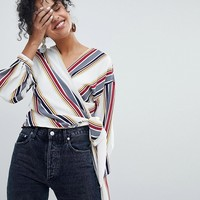 New Look Striped Wrap Tie Side Top at asos.com