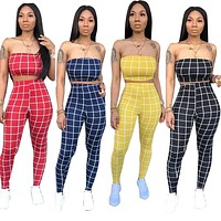 Women Two Piece Plaid Tube Top Pant Set