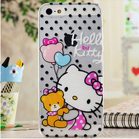 Cute Black Polka Dots Hello Kitty Cartoon TPU Transparent Soft Phone Back Case Shell Cover for iPhone 5 5S SE