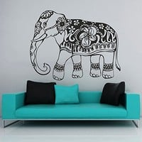 Wall Decal Elephant Vinyl Sticker Decals Lotus Indian Elephant Floral Patterns Mandala Tribal Buddha Ganesh Om Home Decor Bedroom Art Design Interior NS318