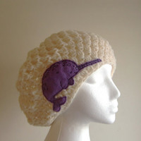 Cream  Slouchy Hat with Lilac Narwhal