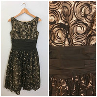 Vintage Midcentury Fit and Flare A-Line Dress Black Organza and Velvet Over Tulle with Abstract Floral Pattern Boatneck Sleeveless Small