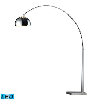 Penbrook LED Arc Floor Lamp In Chrome With White Marble Base Silver Plating,White
