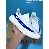 DCCK  A283 Adidas Yeezy 350 V2 Real Boost Basf Champion Knit Running Shoes White Blue
