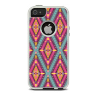The Pink & Teal Abstract Mirrored Design Apple iPhone 5-5s Otterbox Commuter Case Skin Set