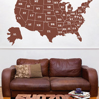 kik2251 Wall Decal Sticker USA Map all states the names lounge bedroom office