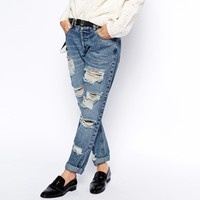 ASOS Brady Low Rise Slim Boyfriend Jeans in Mid Wash with Extreme Rips