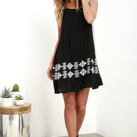 Joyous Occasion Ivory and Black Embroidered Dress