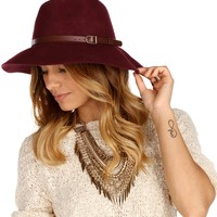 Burgundy Wool Belt Band Panama Hat