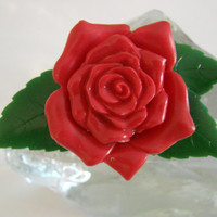40s Vintage Large Designer Signed Red Floral Rose Brooch / Cruver Chicago / Retro / Green / Jewelry / Jewellery