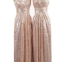 A-line Long Rose Gold Sequins Bridesmaid Dress / Maternity Evening Dress AM485-1
