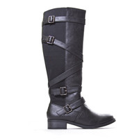 Black Dating Buckle Knee-High Boots -BLACK