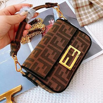 FENDI Classic Retro Women Shopping Bag Canvas Handbag Tote Crossbody Satchel Shoulder Bag