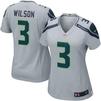Mens Seattle Seahawks Russell Wilson Nike Gray Alternate Game Jersey