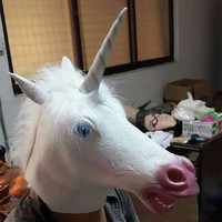 Halloween Costume Prop Unicorn Head Cosplay Latex Rubber Face Mask and Hooves Gloves Animal Adult Silicone Party Masks