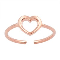 Sterling Silver Hollow Heart 6MM Toe Ring/ Knuckle/ Mid-Finger Rose Gold-Tone Plated